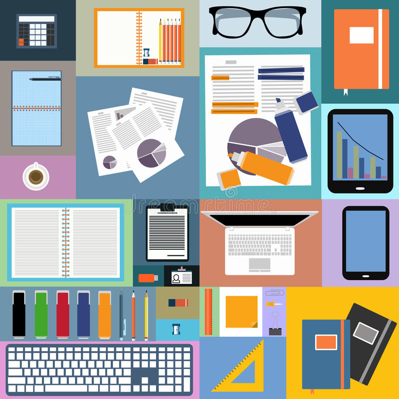 Flat Design Of Image Of Office Space And Objects Stock
