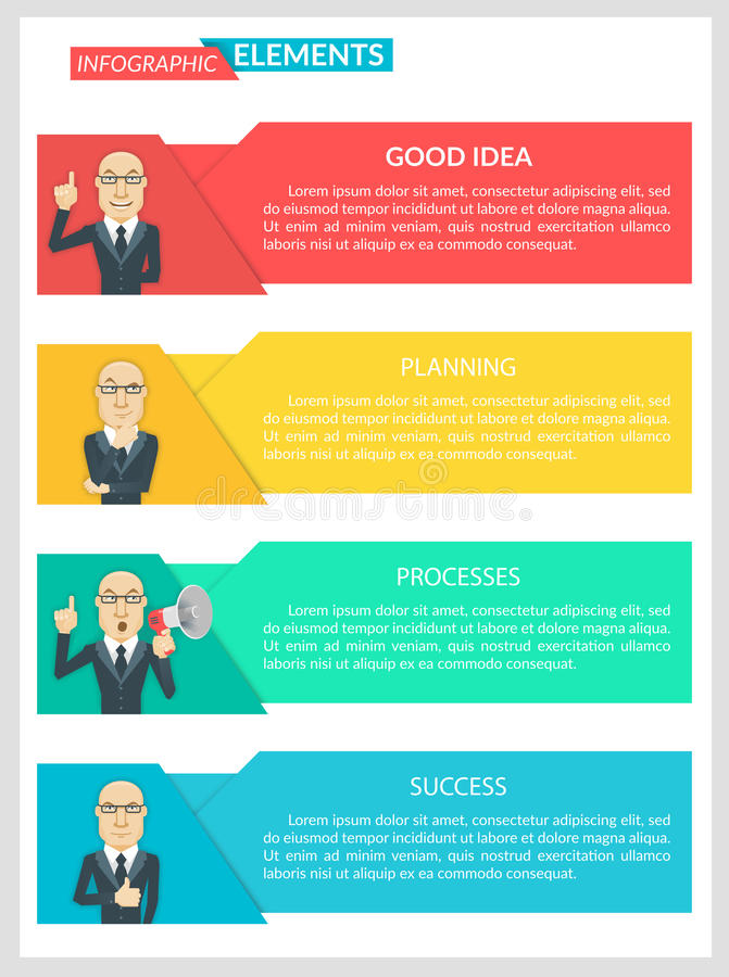 Flat Design Infographic Business Template. Business concept four paragraphs for success Illustrations for business, finance, marketing, management, training stock illustration
