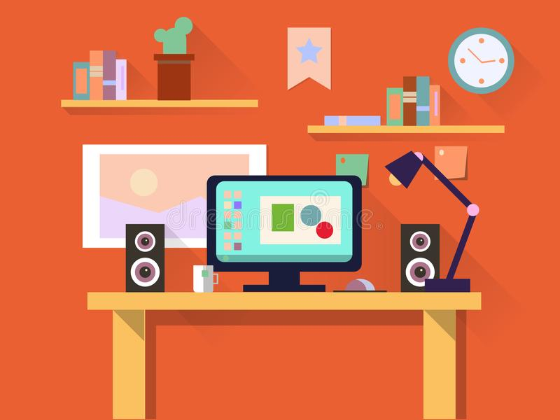 Flat design interior concept of work place with computer, laptop, lamp, to do list, working programs, organizer, books vector illustration