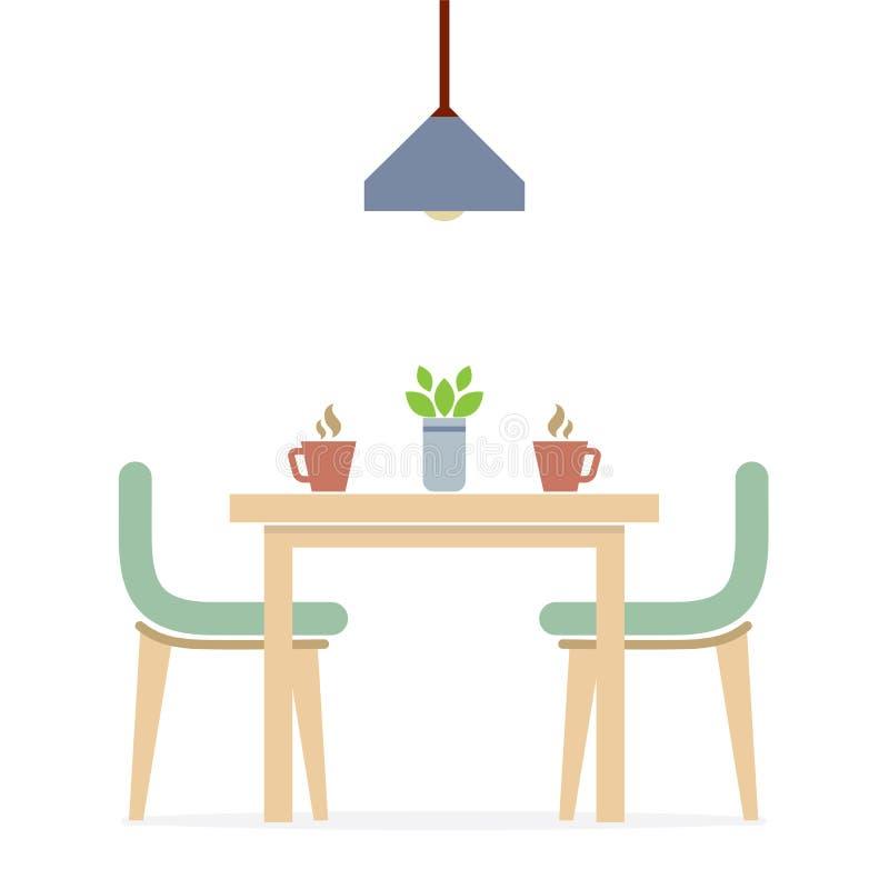 Amazing Flat Design Interior Dining Room Vector Illustration