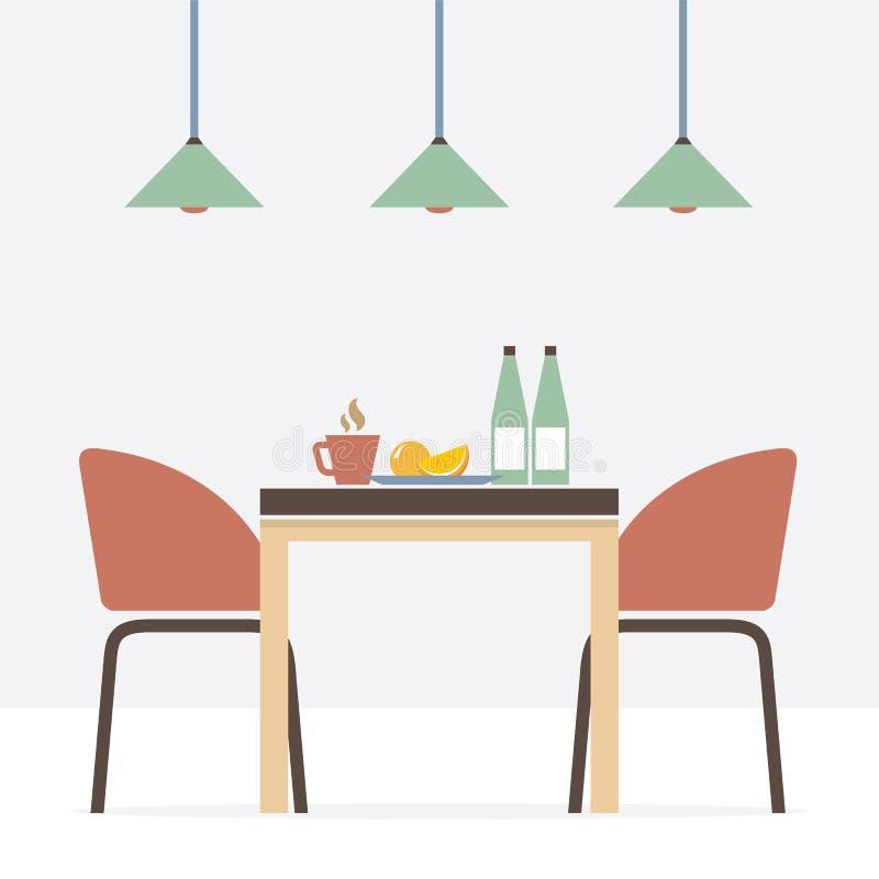 Great Download Flat Design Interior Dining Room Stock Vector   Illustration Of  Empty, Illustration: 46408818