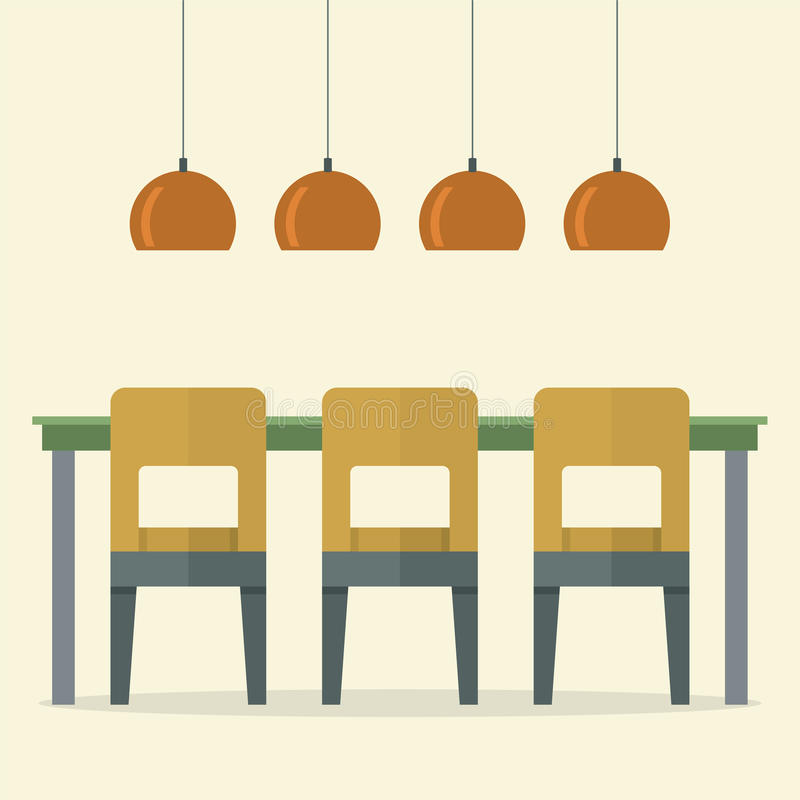 Download Flat Design Interior Dining Room Stock Vector
