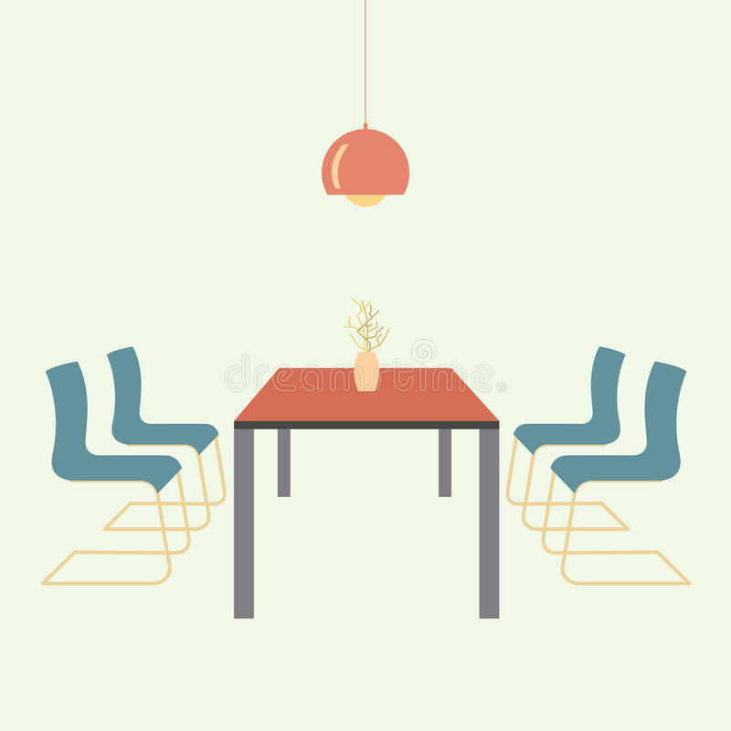Download Flat Design Interior Dining Room Vector Illustration Stock