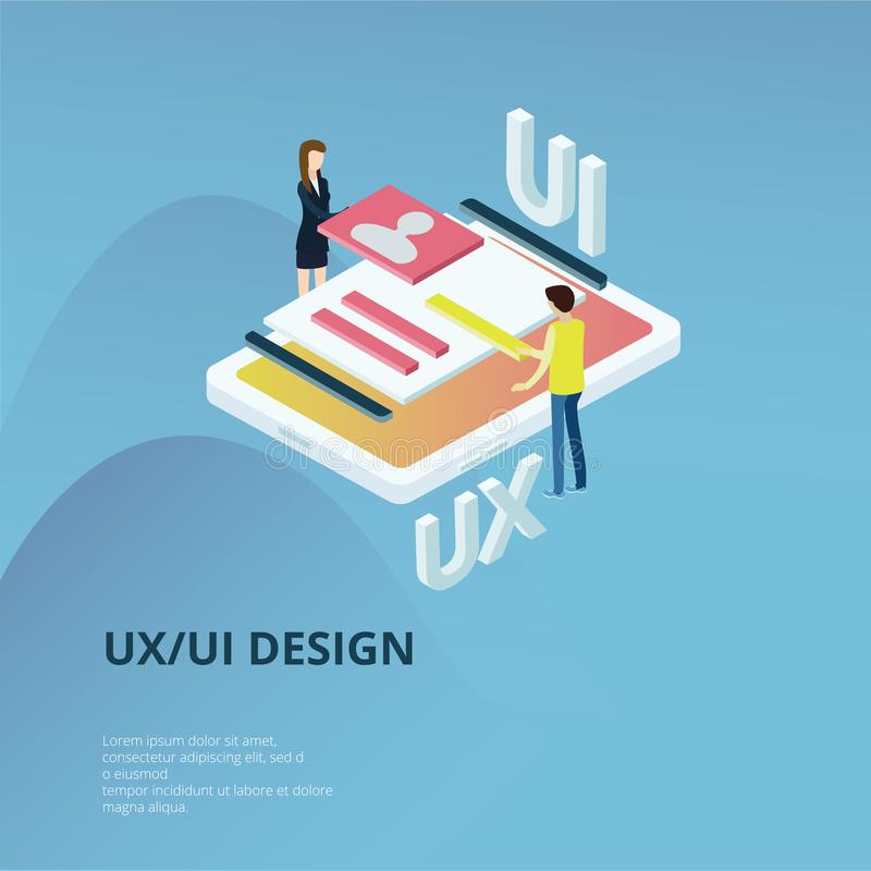UX UV Concept. Flat design isometric concept of UX UV Design. Vector illustration for your projects. Easy to edit and customize stock illustration