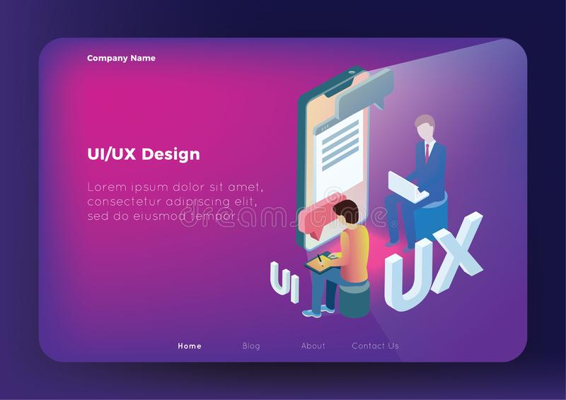 UX UV Concept. Flat design isometric concept of UX UV Design. Vector illustration for your projects. Easy to edit and customize royalty free illustration