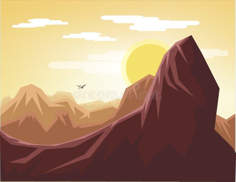 Flat design landscape brown canyon royalty free stock photos