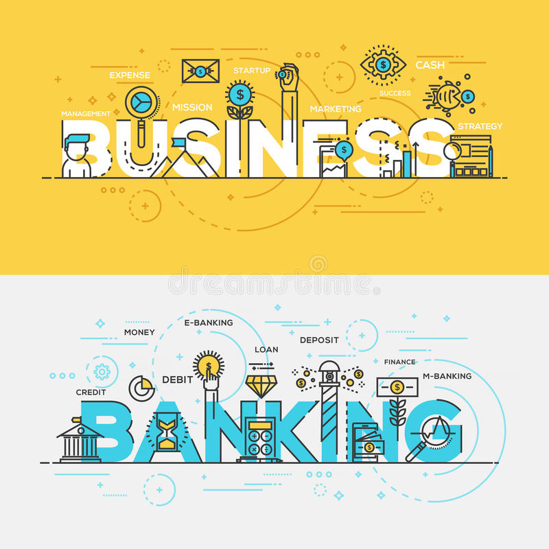 Flat design line concept banner- Business and Banking. Flat Style, Thin Line Banner design of Business and Banking, Colors, Drawing, vision, etc. Modern concept vector illustration