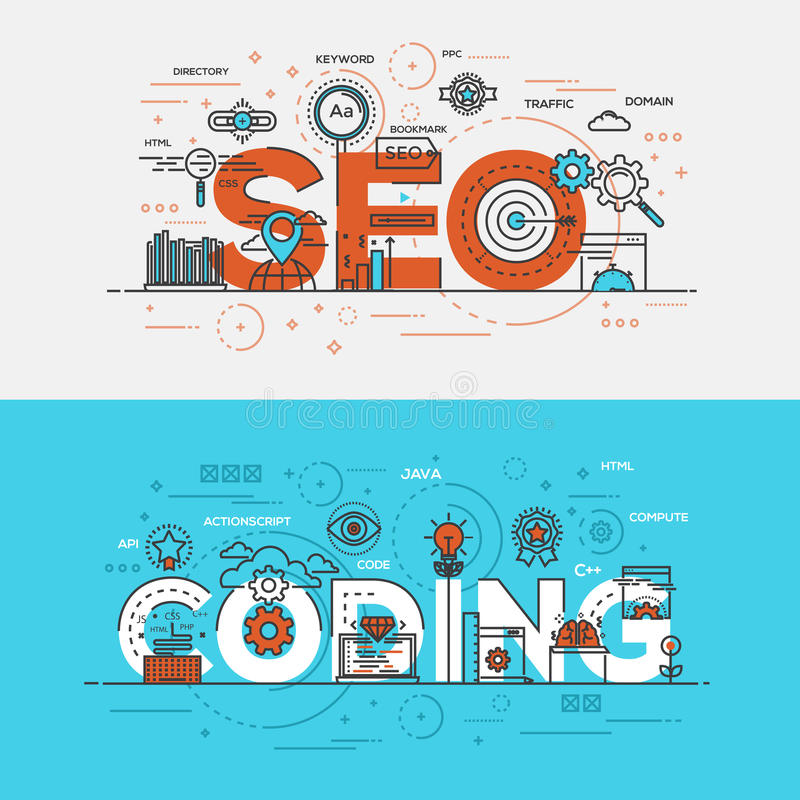 Flat design line concept banner- Seo and Coding royalty free illustration