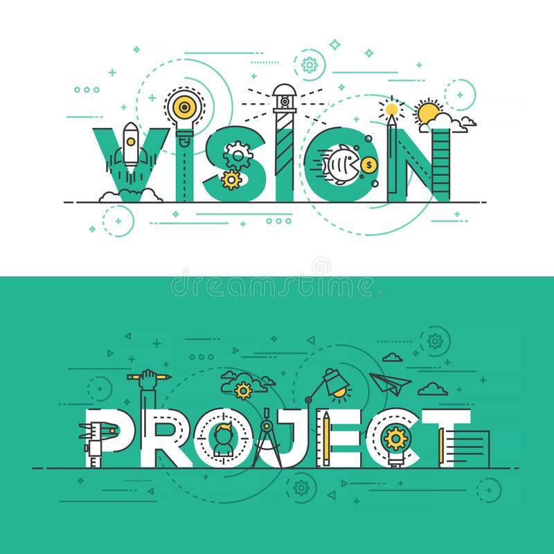 Flat design line concept banner- Vision and Project. Flat Style, Thin Line Banner design of Vision and Project, Colors, Drawing, vision, etc. Modern concept royalty free illustration