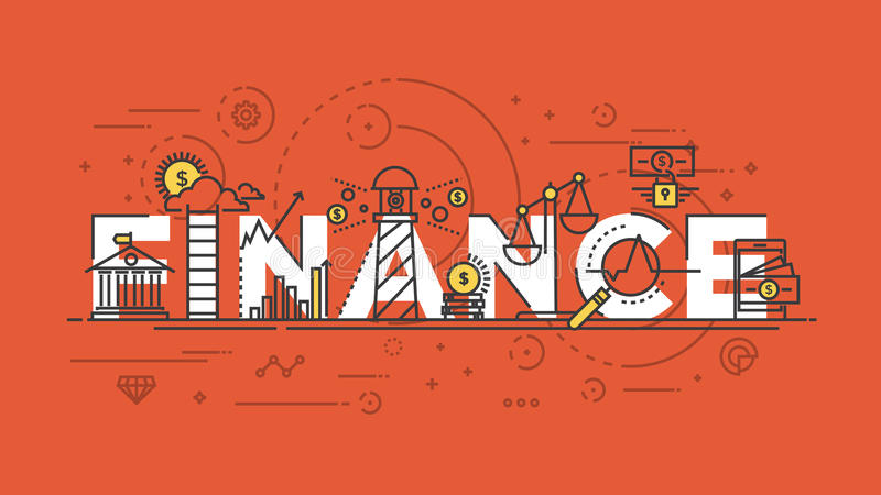 Flat design line concept -Finance stock illustration