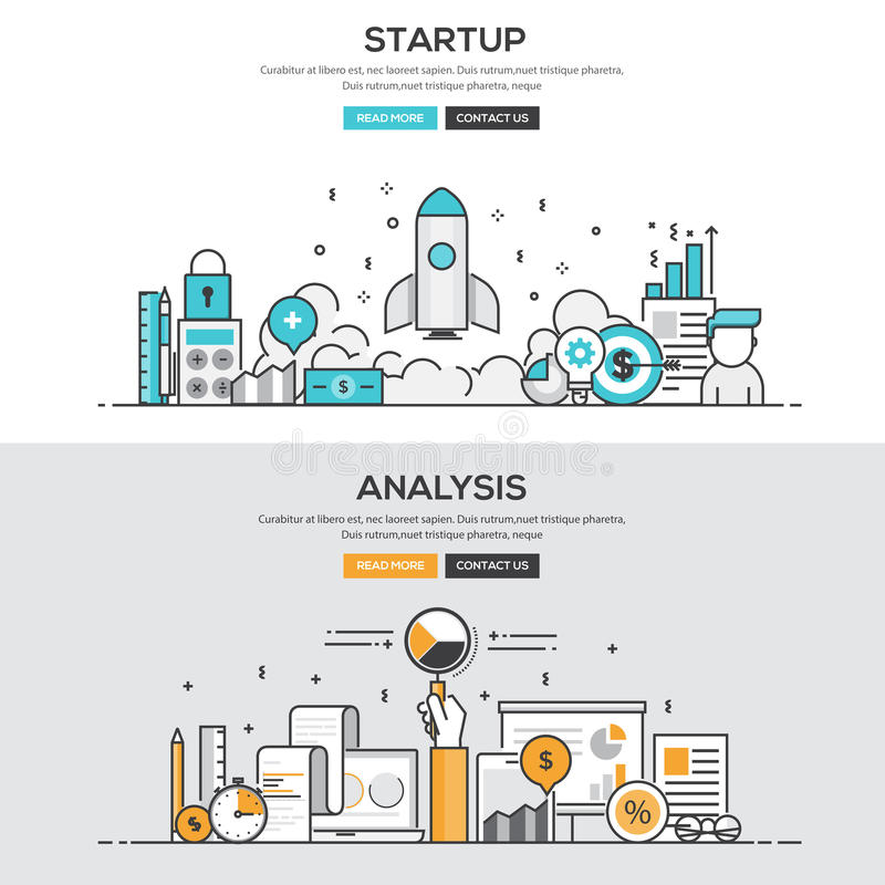 Flat design line concept - Start up & Analysis. Set of Flat Line Color Banners Design Concepts for Startup and Analysis. Concepts web banner and printed stock illustration