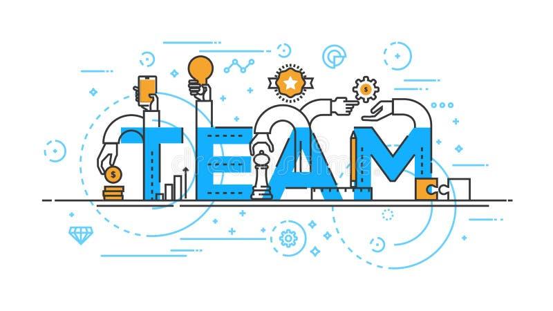 Flat design line concept -Team. Flat Style, Thin Line Banner design of Team work, Workflow, cooperation, Success, Management, etc. Modern concept. Vector vector illustration