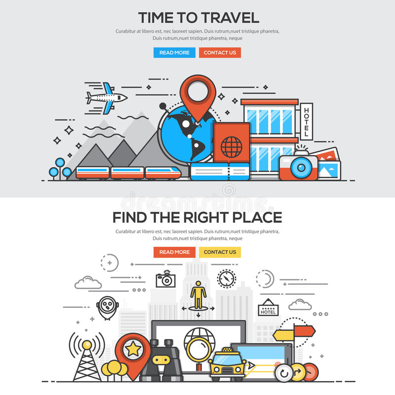 Flat design line concept -Time to travel. Set of Flat Line Color Banners Design Concepts for Time to Travel and Find the right Place. Concepts web banner and stock illustration
