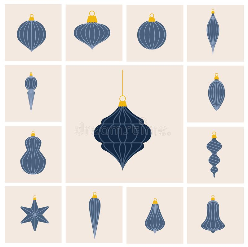 Flat design lined Christmas baubles set vector illustration