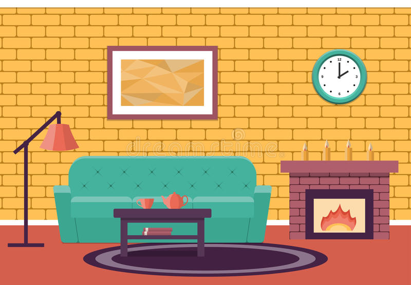 flat design living room. vector graphic. stock vector - illustration