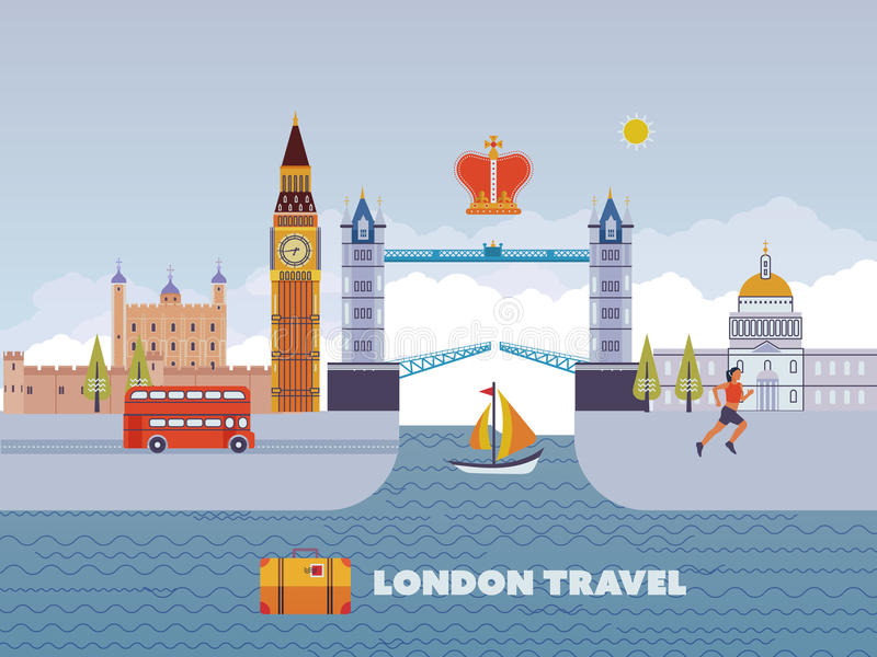 Flat design of London city. Historical and modern building. vector illustration
