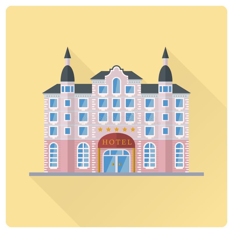 Grand Hotel building flat design vector illustration stock illustration