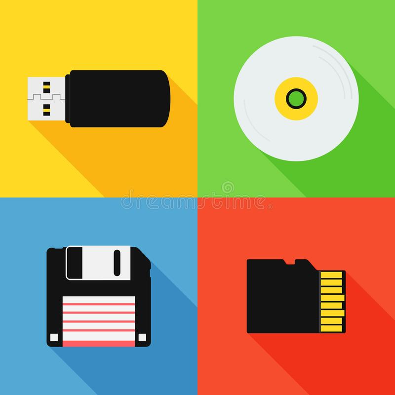 Flat design long shadow styled modern vector icon set of data storage devices vector illustration