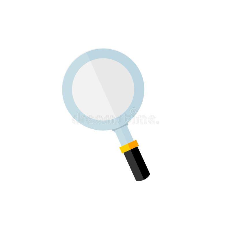 Flat design of magnifying glass icon. stock illustration