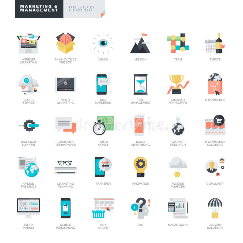 Flat design marketing and management icons for graphic and web designers stock illustration