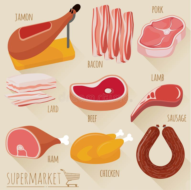 Flat design meat icons vector illustration