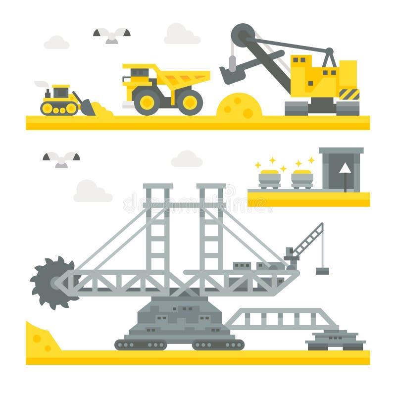 Flat design mining site equipment royalty free illustration