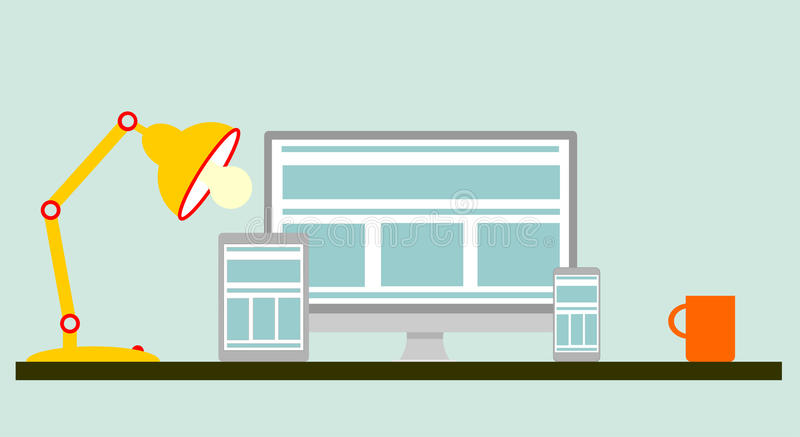 Flat design of mobile and desktop computer. Flat design of mobile and desktop website design development proces eps 10 stock illustration