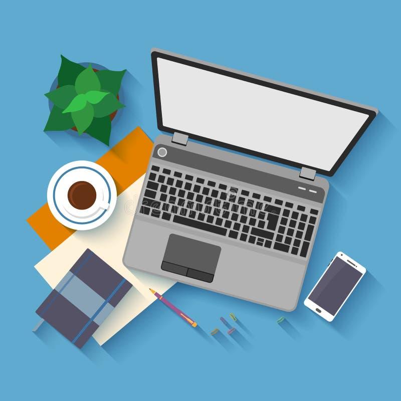 Flat design mockup per office workspace vector illustration