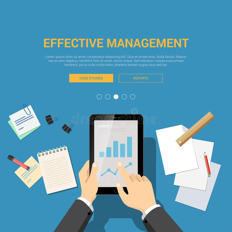 Flat design mockup template for effective management vector illustration