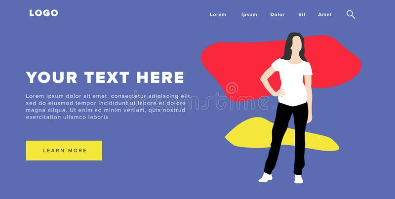 Flat Design Modern Colorful Web Banner and Slider Include Ui Elements With Standing Self-Confidence Woman Silhouette Landing Page. Very Beautiful Flat Design vector illustration
