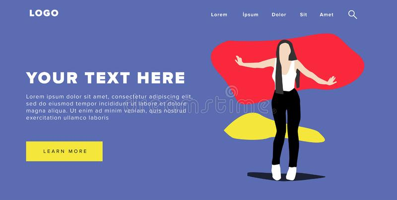 Flat Design Modern Colorful Web Banner and Slider Include Ui Elements With Standing Self-Confidence Woman Silhouette Landing Page. Very Beautiful Flat Design stock illustration