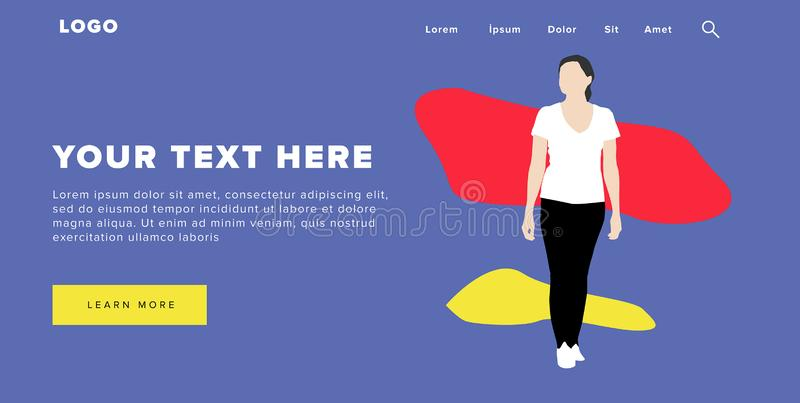 Flat Design Modern Colorful Web Banner and Slider Include Ui Elements With Standing Self-Confidence Woman Silhouette Landing Page. Very Beautiful Flat Design royalty free illustration