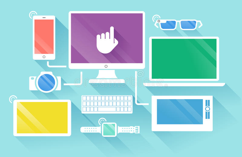 Flat design of modern devices vector illustration