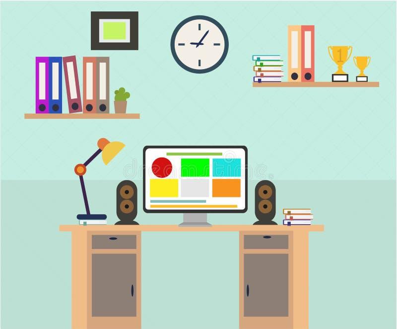 Flat design of modern office interior with designer desktop royalty free illustration