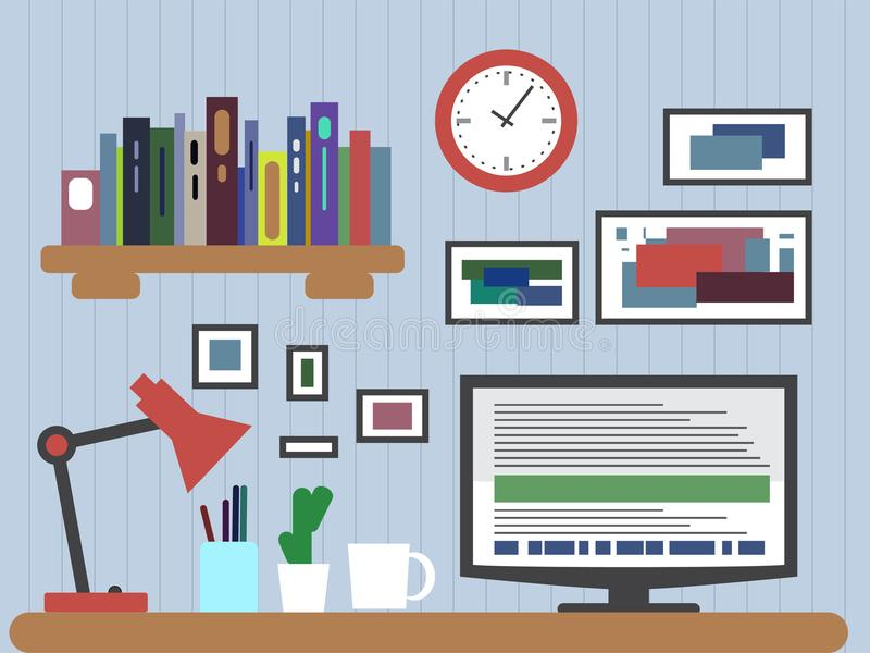 Flat design of modern office interior with designer desktop showing application interface icons and elements in minimalist style c. Flat design of modern office royalty free illustration