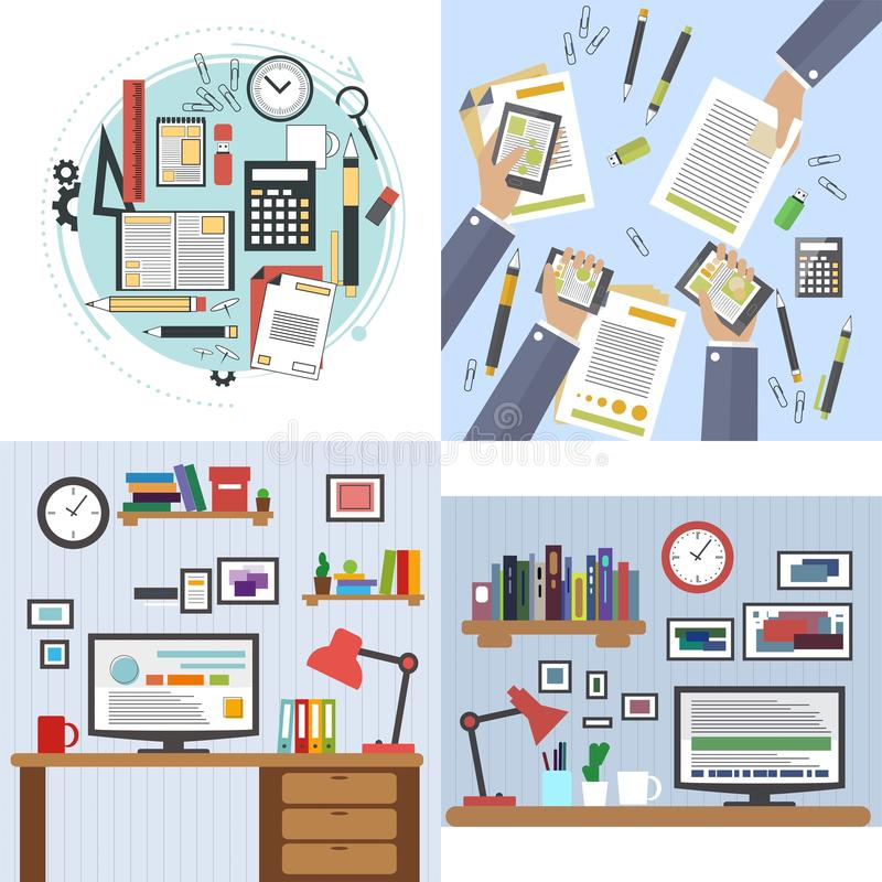 Flat design of modern office interior with designer desktop showing application interface icons and elements in minimalist style c. Flat design of modern office stock illustration