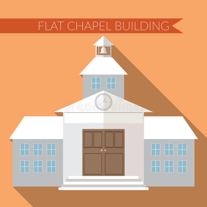 Flat design modern vector illustration of chapel or wedding church building icon, with long shadow on color background stock illustration