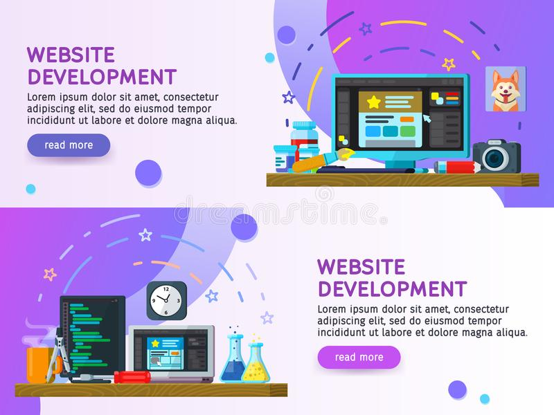 Flat design modern vector illustration concept. Business process Set of flat color banners design. Website development, Web design vector illustration