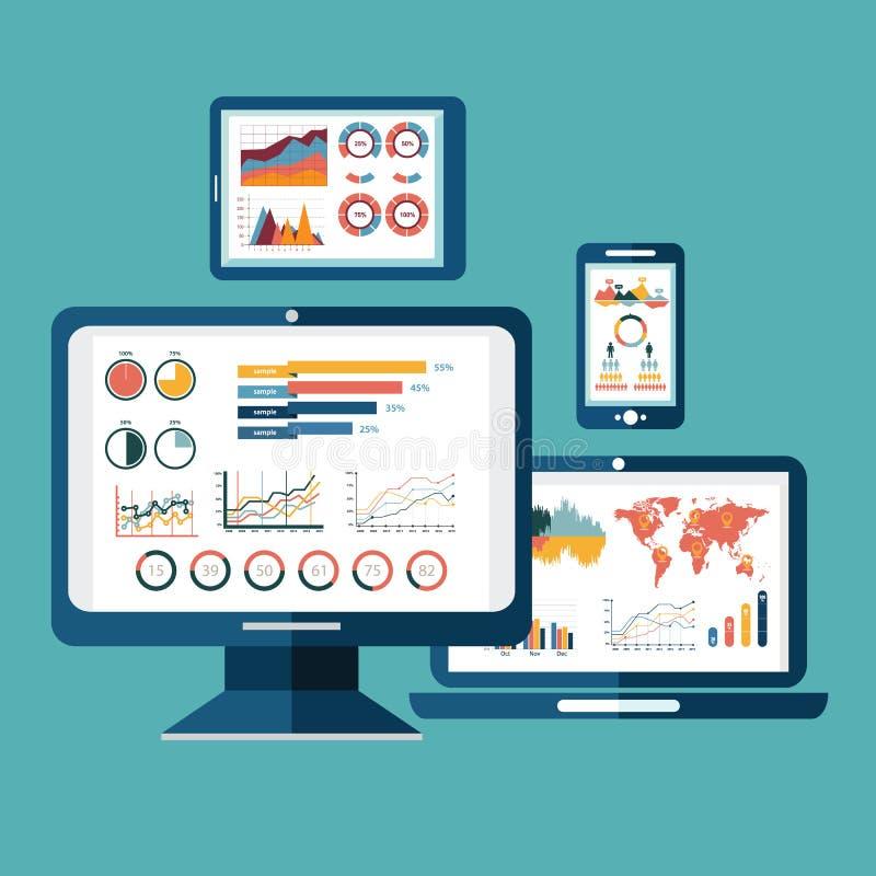 Flat design modern vector illustration concept of website analytics search information and computing data analysis using modern el stock illustration