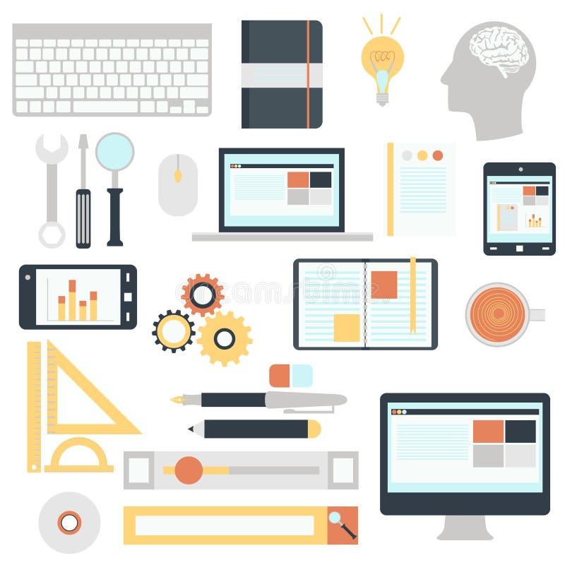 Flat design modern vector illustration icons set stock illustration