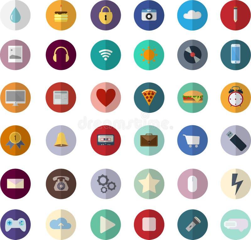 Flat design modern vector illustration icons set of SEO website stock illustration