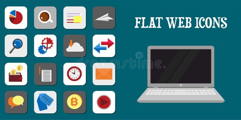 Set of flat design icons for Web design development, SEO and Int stock illustration
