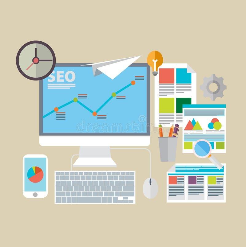Flat design modern vector illustration icons set of website SEO. Optimization stock illustration