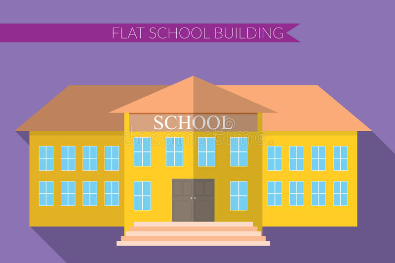 Flat design modern vector illustration of school building icon set, with long shadow on color background royalty free illustration