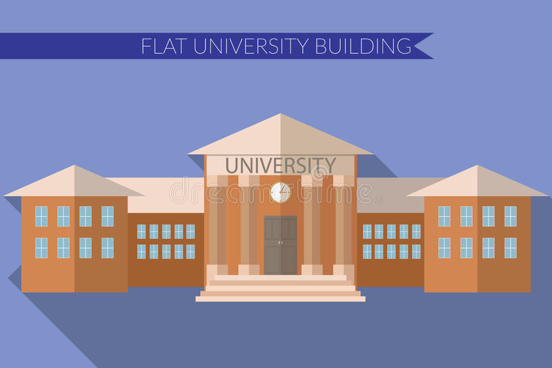 Flat design modern vector illustration of University building icon, with long shadow on color background stock illustration