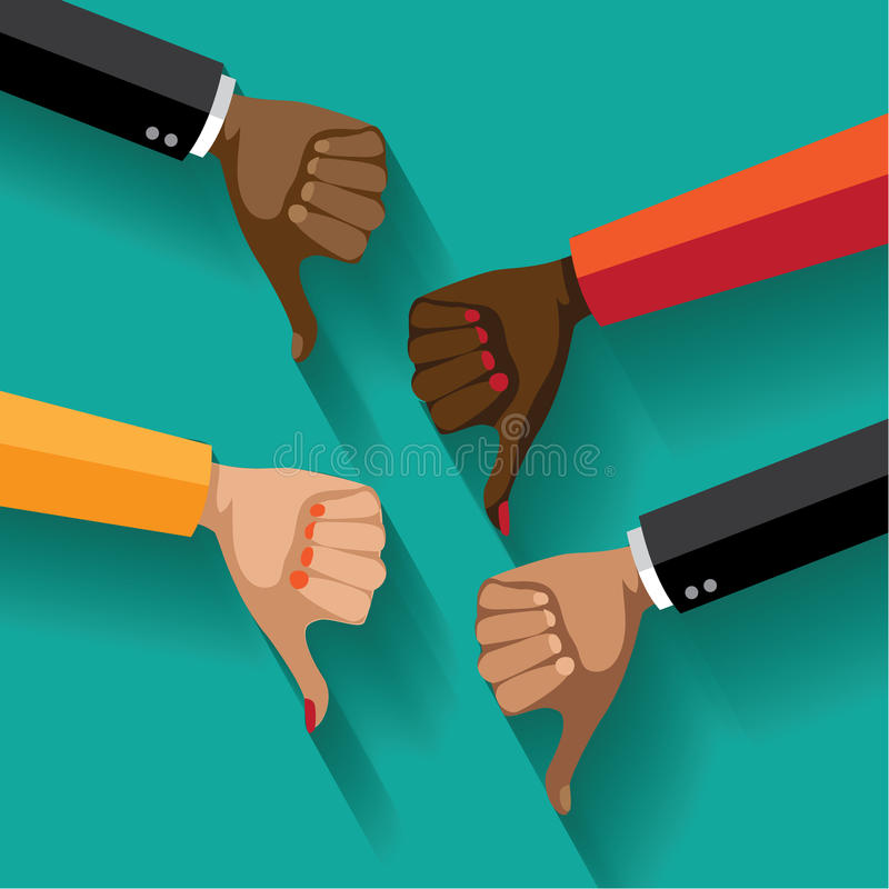 Flat design multicultural group thumbs down. royalty free illustration