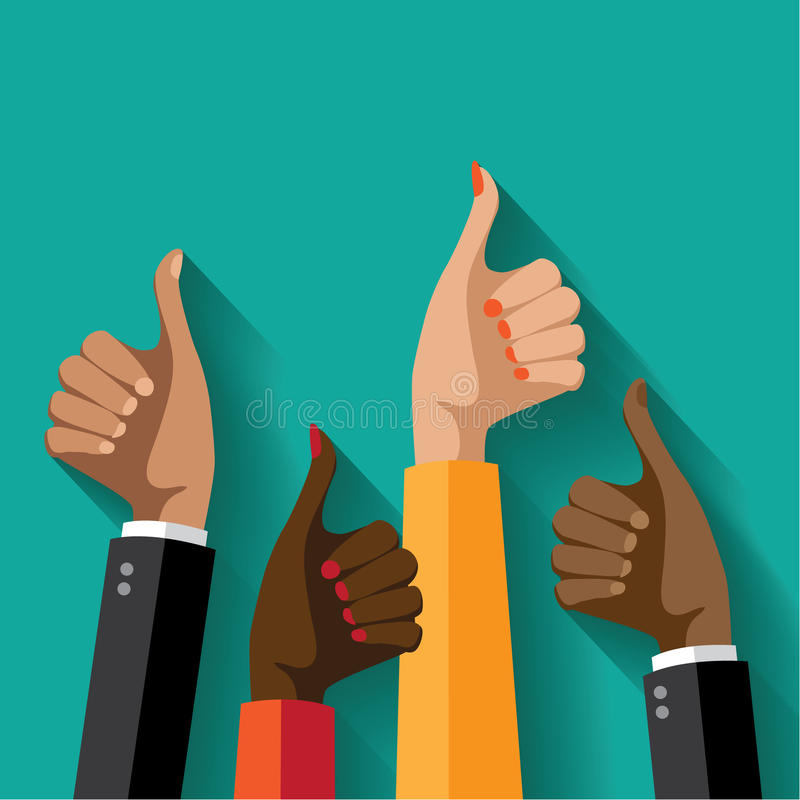 Flat design multicultural group thumbs up. royalty free illustration