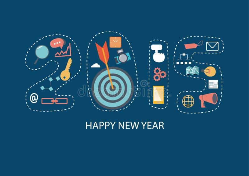 Flat design 2015 new year icons set of website SEO optimization. Flat design of new year 2015 with SEO icons vector illustration