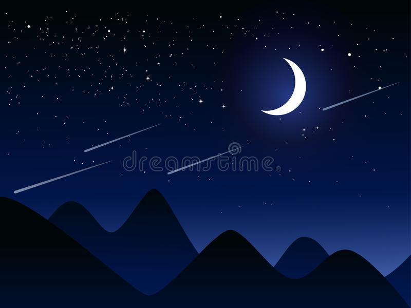 Flat design night scenery with moon and stars vector illustration