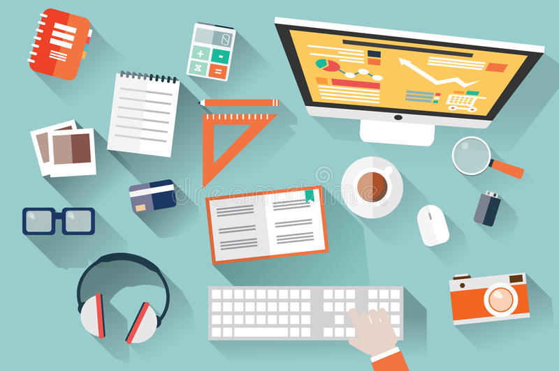Flat design objects, work desk, long shadow, office desk, computer and stationery stock illustration